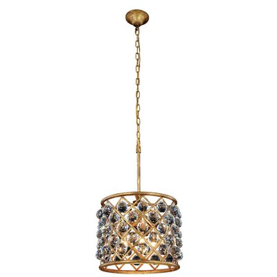 Morion 4-Light Crystal Drum Pendant