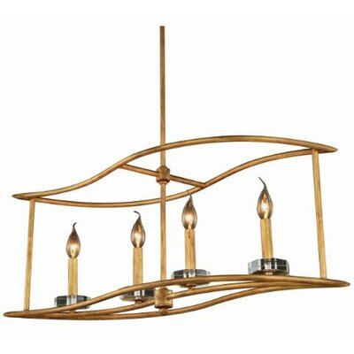 Simental Transitional 4-Light Kitchen Island Pendant Finish: Golden Iron