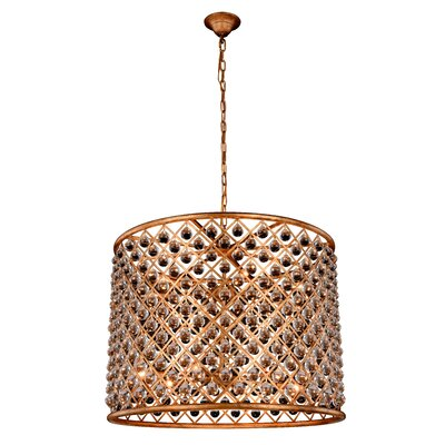 Morion 12-Light Iron Drum Pendant