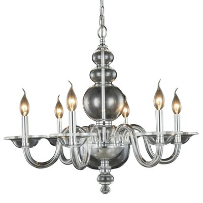 Elissa 6-Light Candle-Style Chandelier Finish: Silver