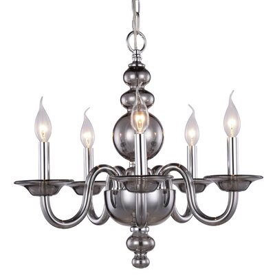Elissa 5-Light Candle-Style Chandelier Finish: Silver