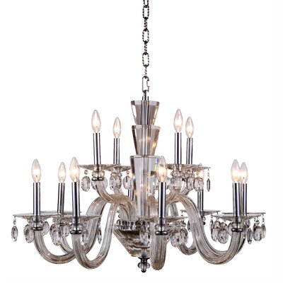 Felisa 12-Light Glass Candle-Style Chandelier