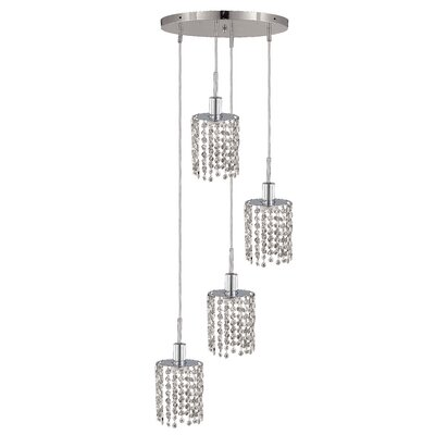 Kruse Contemporary 4-Light Glass Shade Pendant Crystal Color / Crystal Trim: Crystal (Clear) / Elegant Cut