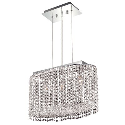 Troas 3-Light Crystal Pendant Crystal Color / Crystal Trim: Crystal (Clear) / Elegant Cut