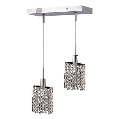 Kruse Contemporary 2-Light Pendant Crystal Color / Crystal Trim: Crystal (Clear) / Royal Cut