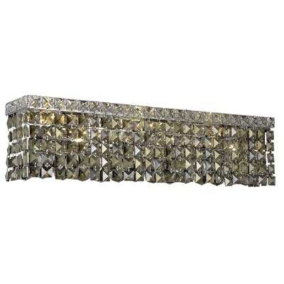 Bratton 6-Light Chrome Wall Sconce Crystal Grade: Royal Cut, Crystal Color: Golden Teak Smoky