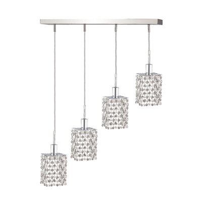 Kruse Contemporary 4-Light Oblong Canopy Pendant Crystal Color / Crystal Trim: Crystal (Clear) / Royal Cut