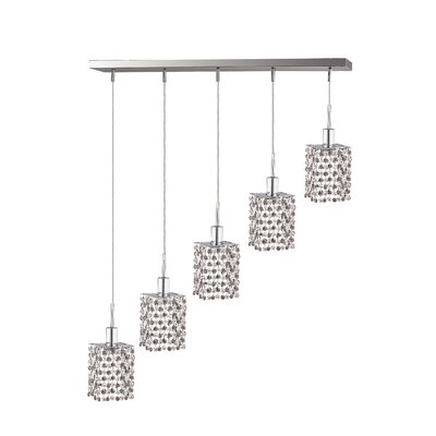 Polina 5-Light Pendant Crystal Color / Crystal Trim: Rosaline (Pink) / Royal Cut