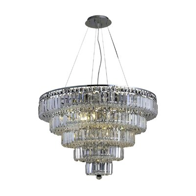 Langer 17-Light Crystal Chandelier Finish: Chrome, Crystal Grade: Swarovski Strass