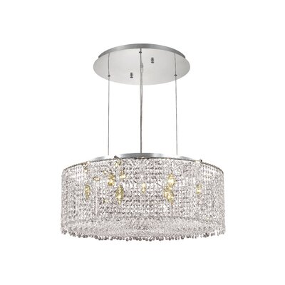 Troas 9-Light Drum Pendant Crystal Color / Crystal Trim: Crystal (Clear) / Elegant Cut