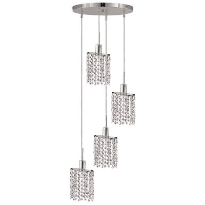 Kruse 4-Light Round Canopy Pendant Crystal Color / Crystal Trim: Crystal (Clear) / Elegant Cut