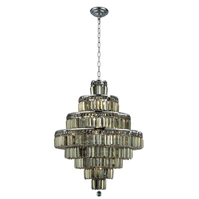 Bratton Modern 18-Light Crystal Chandelier Finish: Chrome, Crystal Color / Crystal Trim: Golden Teak (Smoky) / Royal Cut