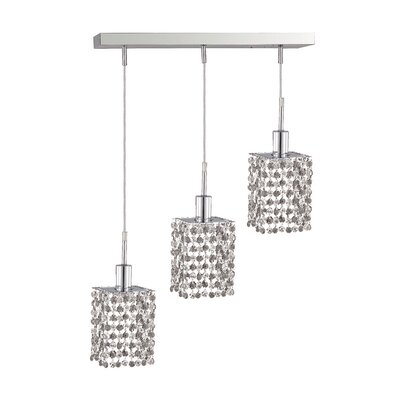 Kruse Modern 3-Light Glass Shade Pendant Crystal Color / Crystal Trim: Crystal (Clear) / Elegant Cut