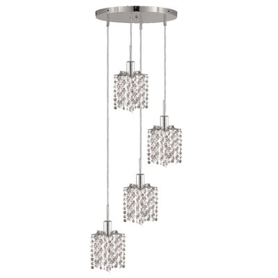 Kruse Contemporary 4-Light Round Canopy Pendant Crystal Color / Crystal Trim: Crystal (Clear) / Elegant Cut