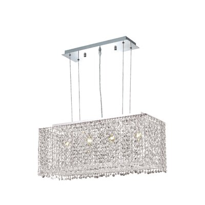 Troas 4-Light Pendant Crystal Color / Crystal Trim: Crystal (Clear) / Royal Cut