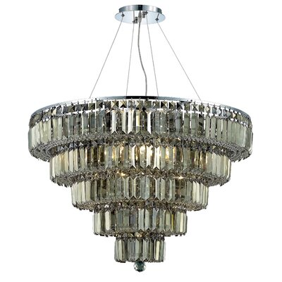 Langer 17-Light Crystal Chandelier Finish: Chrome/Golden Teak, Crystal Grade: Swarovski Strass