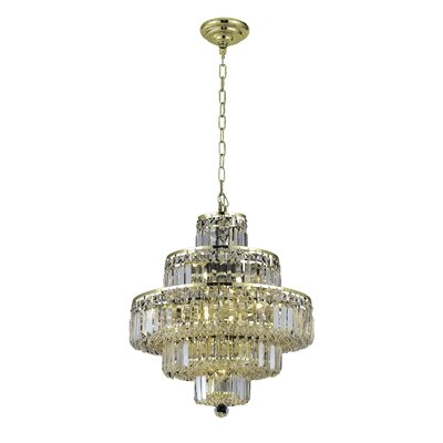 Bratton Contemporary 13-Light Crystal Chandelier Finish: Gold, Crystal Color / Crystal Trim: Crystal (Clear) / Elegant Cut