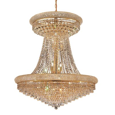 Jessenia 28-Light Glass Empire Chandelier Finish: Gold, Crystal Trim: Royal Cut