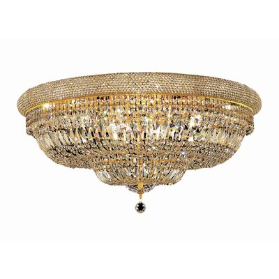 Jessenia 20-Light Crystal Shade Flush Mount Finish: Gold, Crystal Grade: Elegant Cut