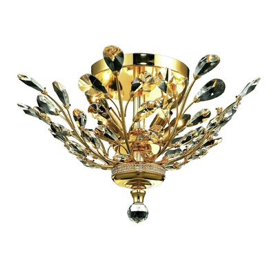 Orchid 4-Light Semi Flush Mount Finish: Gold, Crystal Grade: Strass Swarovski