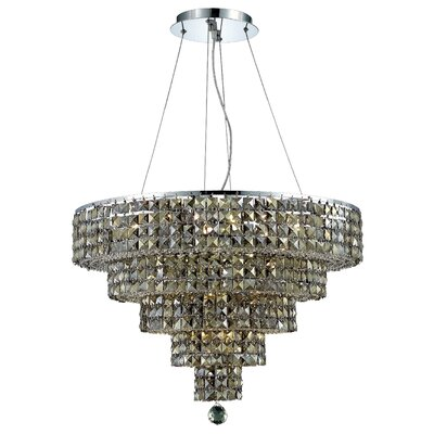 Bratton Contemporary 14-Light Crystal Chandelier Crystal Color / Crystal Trim: Silver Shade (Grey) / Royal Cut
