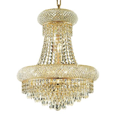 Jessenia 8-Light Glass Empire Chandelier Finish: Gold, Crystal Trim: Elegant Cut