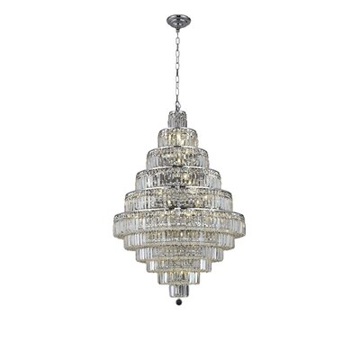 Langer 30-Light Crystal Chandelier Finish: Chrome, Crystal Grade: Elegant-Cut