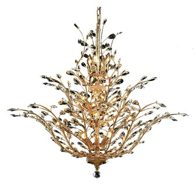 Lamons 18-Light Crystal Chandelier Finish: Gold, Crystal Grade: Elegant-Cut