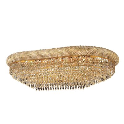 Jessenia 18-Light Crystal Shade Flush Mount Finish: Gold, Crystal Grade: Strass Swarovski