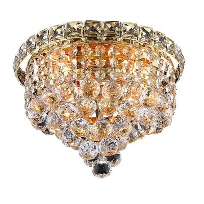 Fulham 4-Light 10 Semi Flush Mount Finish: Gold, Crystal Grade: Chrome / Strass Swarovski