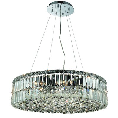 Bratton 12-Light Crystal Semi Flush Mount Size / Crystal Grade: 28 / Strass Swarovski