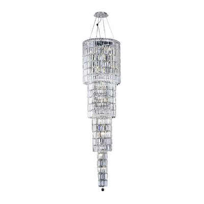 Maxim 18-Light Crystal Chandelier Crystal: Crystal (Clear), Crystal Trim: Elegant Cut