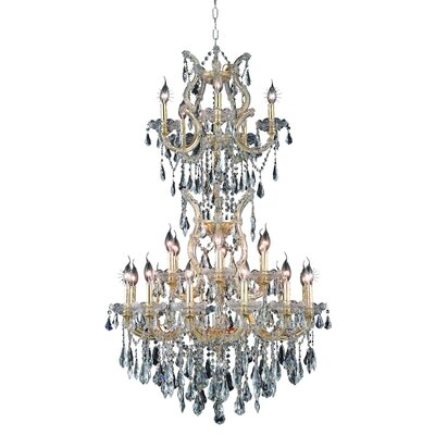 Regina 25-Light Royal Cut Crystal Chandelier Finish / Crystal Color / Crystal Trim: Gold / Golden Teak (Smoky) / Royal Cut