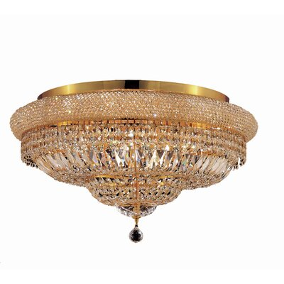 Jessenia 15-Light Crystal Shade Flush Mount Finish: Gold, Crystal Grade: Elegant Cut