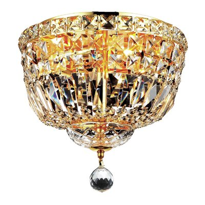 Tranquil 4-Light Flush Mount Finish: Gold, Crystal Grade: Chrome / Royal Cut