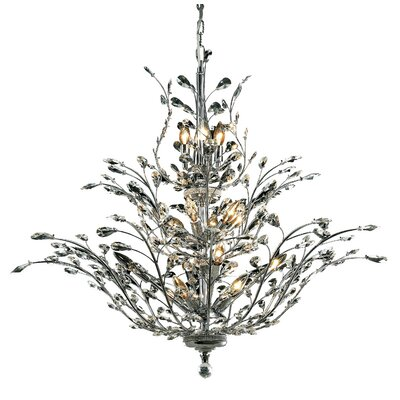 Lamons 18-Light Crystal Chandelier Finish: Chrome, Crystal Grade: Elegant-Cut