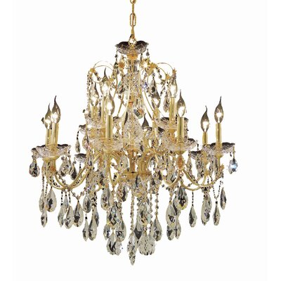 Thao 12-Light Crystal Chandelier Finish: Gold, Crystal Trim: Strass Swarovski