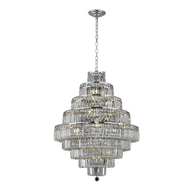Langer 20-Light Crystal Chandelier Finish: Chrome, Crystal Grade: Egyptian