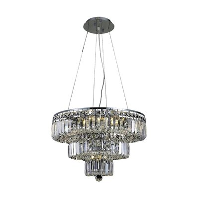Langer 9-Light Crystal Chandelier Finish: Chrome, Crystal Grade: Elegant-Cut