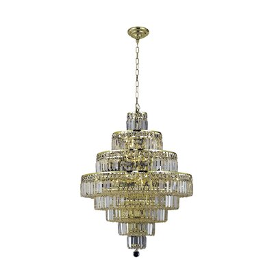 Langer 18-Light Crystal Chandelier Finish: Gold, Crystal Grade: Elegant-Cut