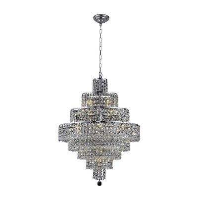 Bratton Contemporary 18-Light Crystal Chandelier Crystal Color / Crystal Trim: Silver Shade (Grey) / Royal Cut