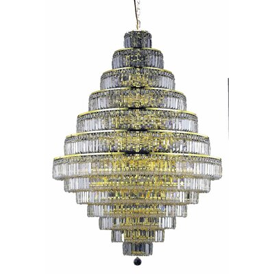 Langer 38-Light Crystal Chandelier Finish: Gold, Crystal Grade: Swarovski Strass