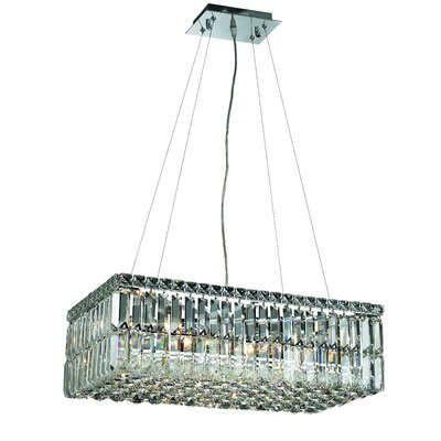 Bratton Contemporary 6-Light Kitchen Island Pendant Crystal: Royal Cut
