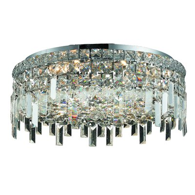 Bratton 360W 6-Light Semi Flush Mount Crystal Grade: Elegant Cut
