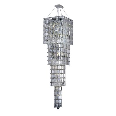 Bratton 18-Light Crystal Chandelier Crystal Grade: Elegant Cut, Crystal Color: Crystal (Clear)