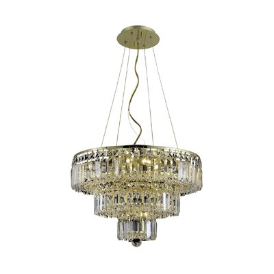 Bratton Contemporary 9-Light Crystal Chandelier Finish: Gold, Crystal Color / Crystal Trim: Crystal (Clear) / Elegant Cut
