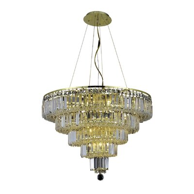 Bratton Modern 14-Light Crystal Chandelier Finish: Gold, Crystal Color / Crystal Trim: Crystal (Clear) / Elegant Cut