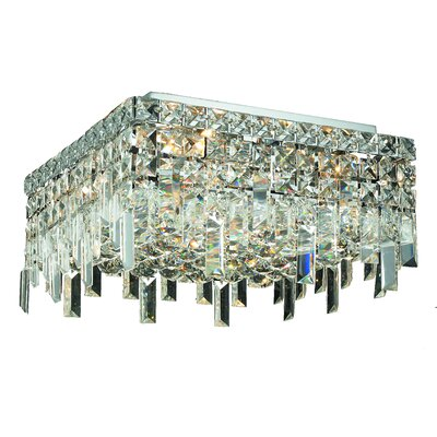 Bratton 4-Light 60W Semi Flush Mount Crystal Grade: Spectra Swarovski