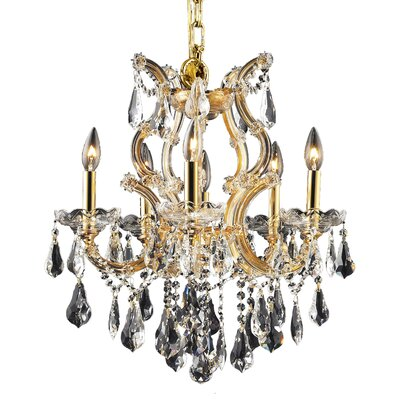 Maria Theresa 6-Light Crystal Chandelier Finish / Crystal Color / Crystal Trim: Chrome / Golden Teak (Smoky) / Royal Cut