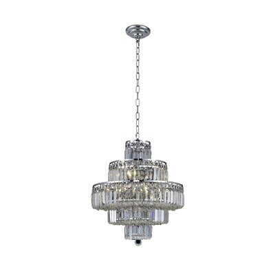 Langer 13-Light Crystal Chandelier Finish: Chrome, Crystal Grade: Elegant-Cut